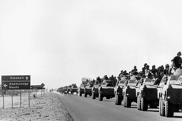Namibia  1980's. SADF convoy passes through. This picture was taken at a SADF display in Ombalantu. Taking pictures of  military convoys they remains an offense. PHOTO: John Liebenberg/South Photographs/Africa Media Online