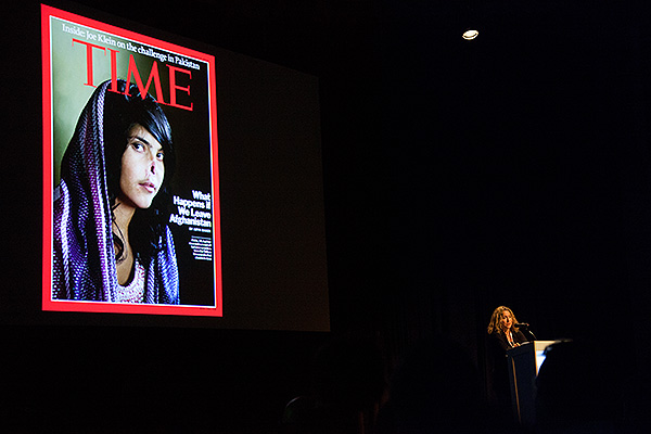 Jodi Bieber presenting at the World Press Photo Award Days in Amsterdam, Netherlands. She presented two bodies of work, Challenging Stereotypes and Soweto and also spoke about photographing Bibi Aisha, a young Afghan woman who had her nose and ears cut off by her husband's family.