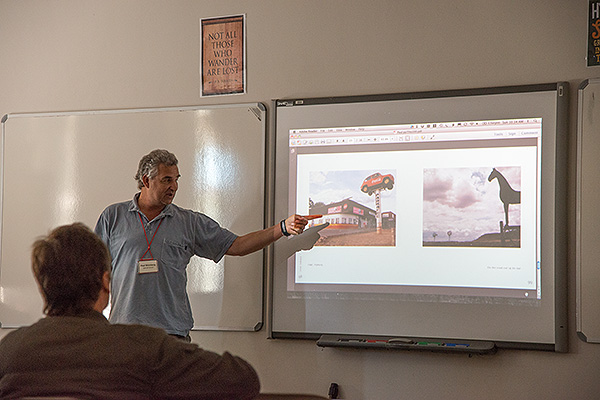 Veteran South African documentary photographer, Paul Weinberg, presenting a personal project at DocuFest Africa 2013 held at Michaelhouse in the KwaZulu-Natal Midlands.