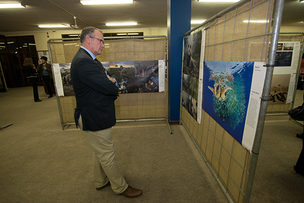 Mr Jonathan Manley, headmaster of St Mary's DSG in Kloof views the World Press Photo Exhibition 2017 during the launch event ahead of the Hilton Arts Festival. Africa Media Online partnered with World Press Photo to bring the Exhibition to KwaZulu-Natal province in South Africa for the first time in almost 20 years.