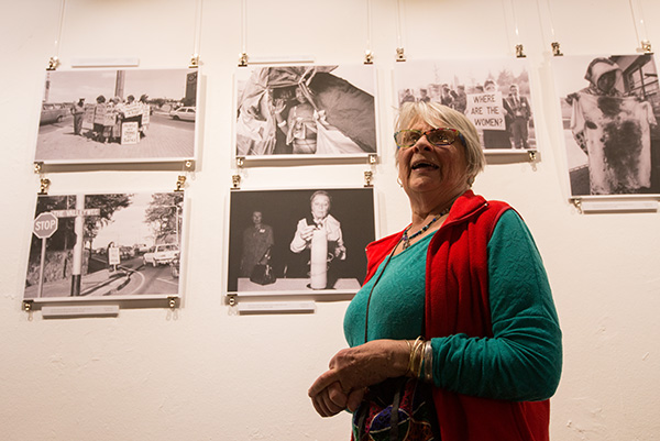 On Saturday, May 12, 2018 veteran Black Sash activist and photographer, Gille De Vlieg, conducted a walkabout of the DocuFest Africa exhibition, particularly her images. The walkabout gathered a small crowd including a number of Black Sash members who were able to share their experience of protest action under apartheid.