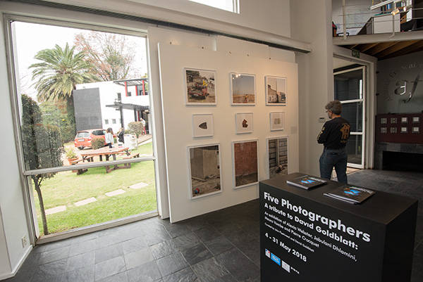 Five Photographers: A tribute to David Goldblatt was an exhibition of the work of four young photographers admired by David Goldblatt. The exhibition that was curated by John Fleetwood with assistance from David,  was on show at the French Institute in Johannesburg during the month of May 2018.