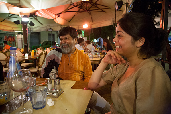 Director of Drik Photo Agency, Pathshala photo festival and the Majority World picture library, Shahidul Alam (left) with his daughter at a restuarant in Florence, Italy during the CEPIC Congress or picture libraries that was being hosted in the city in June 2007.