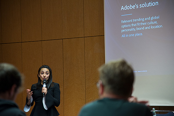 """Shambhavi Kadam, Group Product Manager for Adobe Stock presents during the Innovation day at CEPIC 2018 on """"The Evolution of Content: The Impact of AI on the Creative Process"""". The seminar showcased phenomenal innovations in image search that have been developed using Adobe Sensei (Adobe's AI and machine learning framework)."""